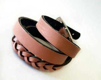 Triple wrap bracelet, leather bracelet, two face bracelet, colored leather, custome leather gift, women fashion, custome women gift