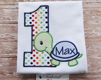 Personalized Birthday Shirt with Turtle & Number - Boys Birthday Shirt - First Birthday Shirt - Turtle Birthday Shirt - 1st Birthday Shirt