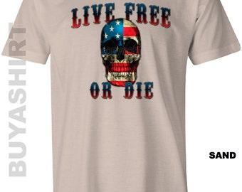 LIVE FREE Or DIE Skull Patriotic Tee Shirt