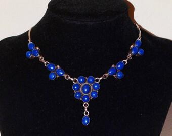 "Vintage Sterling 925 Stamped,19"" Long, Genuine Lapiz Stone Necklace."