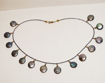 "Vintage Sterling Black Coin Pearl 15"" Necklace. Free Shipping."
