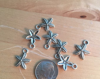 Silver starfish charms sealife beach jewelry supplies sea star charms DIY lot of 10