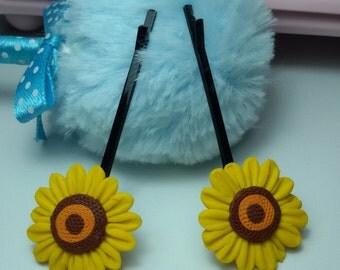 Sunflower hiar pin, hair pin clay, jewelry hair pin