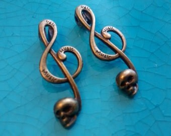 2 music sign G clef with scull bronze plated charms pendants DIY bracelets earrings necklaces jewellery making charms melody