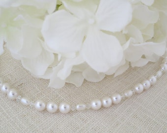 Simple pearl bridal necklace, Swarovski wedding necklace, Pearl and crystal necklace