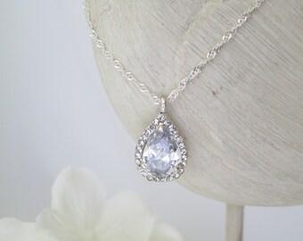 CZ teardrop pendant necklace, Crystal teardrop wedding necklace, Simple bridal necklace