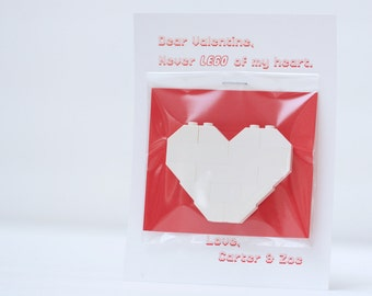 Lego Valentine Card with White Heart - Never LEGO of my heart - Custom Name