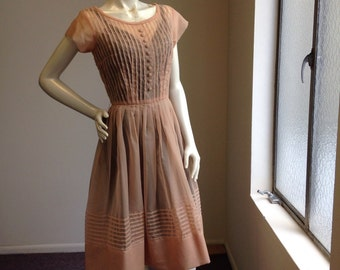 Vintage 1950's Sheer Peach perfect party dress frock