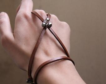 Leather Bracelet for Women - Beaded Bracelet - Brown Jewelry - Avant Garde - Jewelry - Bracelet - Camel - Brambuta