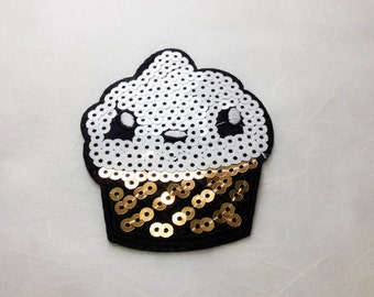 Cupcake Sequin Iron on Patch (M) - Sequin Cupcake, Glitter Applique Iron on Patch - Size 6.9x8.4 cm