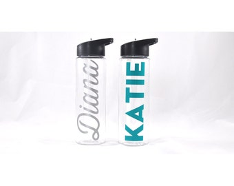 Personalized Sport Bottle Clear, Custom Water Bottle, Personalized Water Bottle