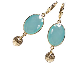 Gemstone earrings jade and silver gold plated
