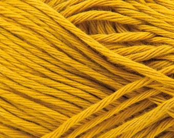Cotton yarn mustard colour creative cotton aran crochet yarn Rico Design 50g 85m (92 yards) for needle size 4-5 EU (US 6-8) mustard code 70