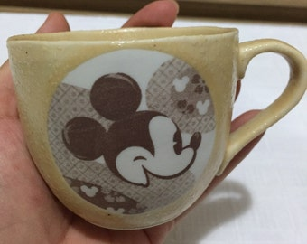 Vintage Japan Pottery Disney Mickey Mouse Coffee Milk Cup Mug