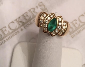 Vintage wide 14k yellow gold ring, center Marquise Emerald & 18 Round Diamonds, .73 tw I-I1 size 6.25