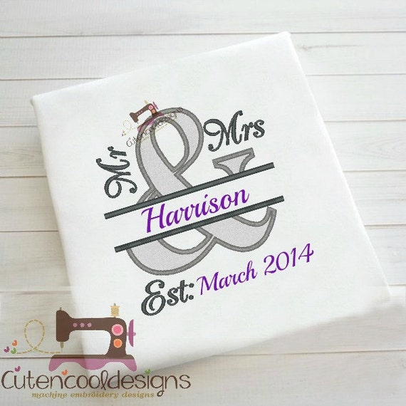 Mr and mrs wedding anniversary applique by cutencooldesigns