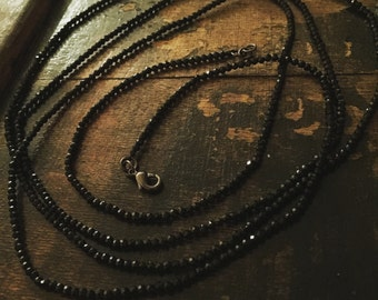 Spinel! Lots of micro faceted black spinel, super long, or wrap, necklace.
