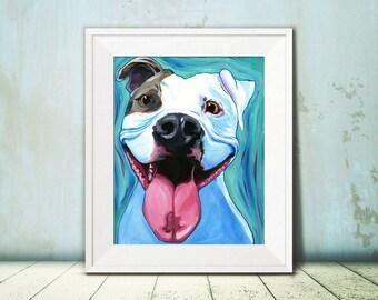 Pit Bull Pop Art - Dog Art - Pit Bull Art - Pit Bull Advocate - Amstaff Art - Pit Bull Mom - Rescue Dog Art - Blue Art - Veterinary Office