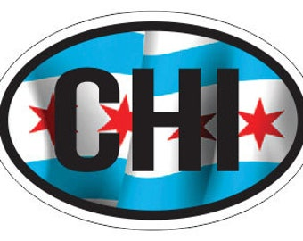 """Chicago """"CHI"""" Flag Euro Style Oval Sticker"""