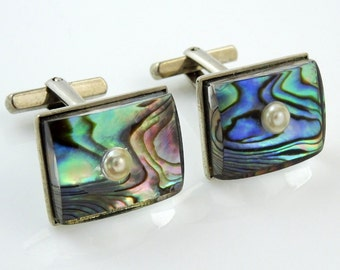 Cool Vintage Cufflinks Abalone Lucite Faux Pearl Silver Tone Angled