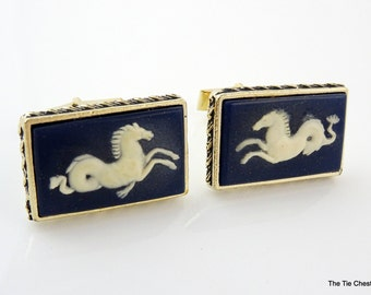Beautiful Vintage Cufflinks Horse Cameo Navy Blue Gold Tone