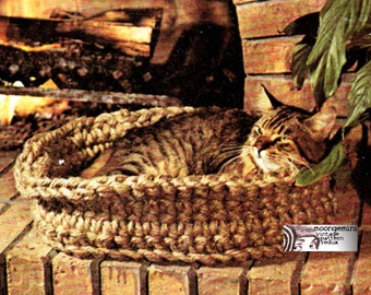 Crochet Cat Bed Jute Kitten or Small Dog Bed Vintage Crochet Pattern PDF Instant Download