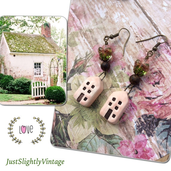 Seaside Cottage....Pale Pink, House Charms, Artisan Made, Shabbychic, Feminine, Translucent Flowers, JustSlightlyVintage