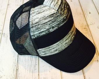 Striped hat, striped trucker hat, cute hat, womens hat, womens trucker hat, trucker hat, hat with stripes, gray hat, black hat