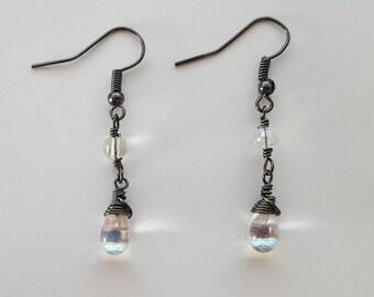AB Czech Glass and Gunmetal Earrings