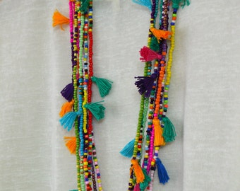 Long tassel necklace Hot pink tassel necklace Beaded necklace with tassels Seed bead tassel necklace Boho chic jewelry Tribal necklace Ibiza