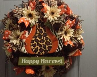 Happy Harvest Chocolate Mesh Wreath