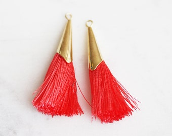 T9-030-G-1123] Gold plated / Coral / 40mm / Fancy Cap Poly Tassel / 4 piece(s)