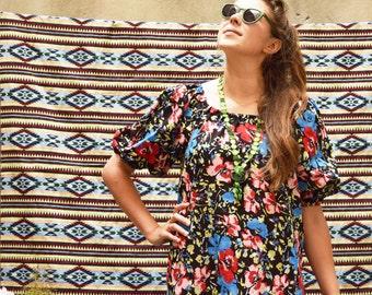 "Summer midi dress ""Masha"" black with flowers"