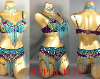 FREE SHIPPING hand beaded belly dance costume TRQ. Purple bra belt Neck 3pcs