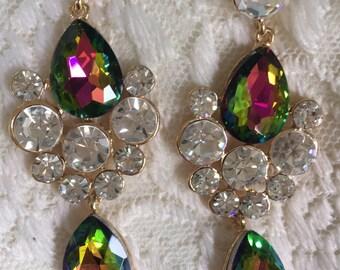 Beautiful Green Mystic Topaz Vitrail and Clear Rhinestone Statement Dangle Earrings