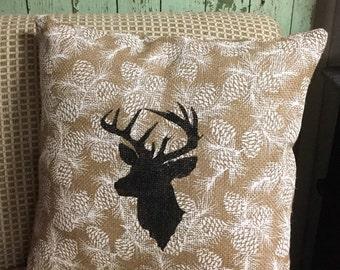 Deer Winter Scene Burlap Pillow