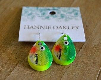 Fishing Lure Earrings, Fishing Jewelry, Lure Earrings, Lure Jewelry, Lure, Tackle, Fishing Tackle, Fishing Lure Jewelry - Fish Eye (Green)