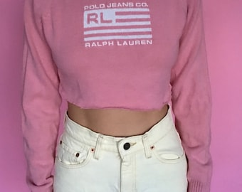 Polo Jeans Co Baby Pink Cropped Sweater