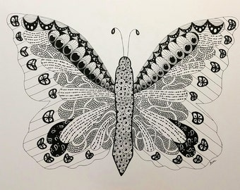 Butterfly Zentangle Art Print