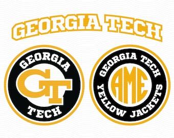 Georgia Tech Yellow Jackets Monogram Cutting Files - SVG DXF Eps, Studio3 - GA Cut File for Cricut, Silhouette Studio, Cutting Machines