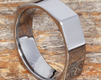 7mm Square Mens Rings Tungsten Wedding Band For Men Shaped Ring