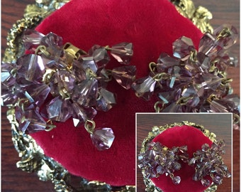 Vintage Light Purple Glass Beads Dangle Clip On Earrings