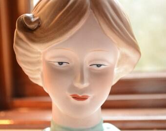 Vintage porcelain victorian style lady head vase / vintage head vase / lady head vase