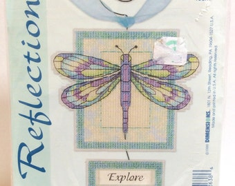 Dragonfly Fantasy Cross Stitch Kit NIP by Dimensions, Dragonfly Plastic Canvas Reflections
