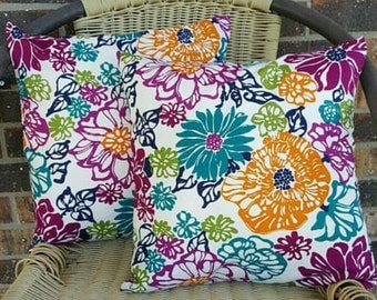 Bright Blooms 14x14 Pillow Cover Set