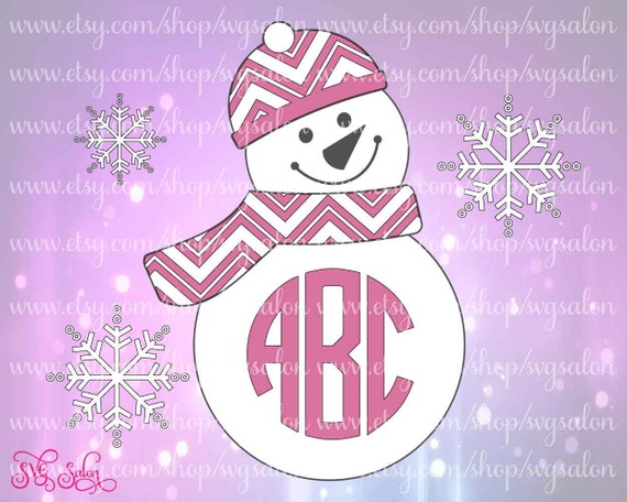 pink chevron hat and scarf snowman monogram christmas by svgsalon