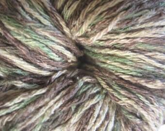 Raw Silk Yarn, Hand Dyed, Multicolor, Green, Brown, and Ecru