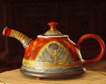 Handmade Pottery Teapot, Rustic Wedding gift, Ceramic teapot, Unique Tea Pot, Teapots, Retro Tea Party, Danko Pottery