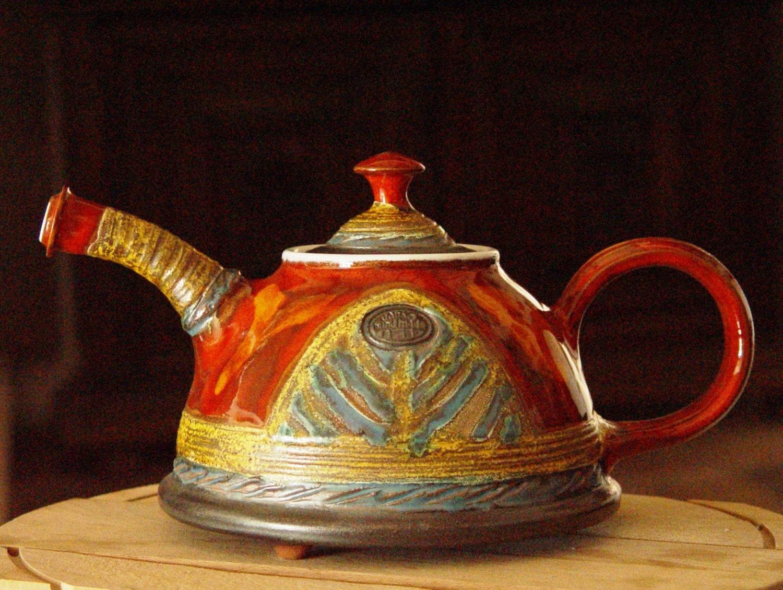 Handmade Pottery Teapot Rustic Wedding Gift Ceramic
