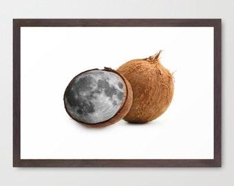 "Minimalist art, food art print, moon print art, kitchen print, surreal collage art, coconut print, home decor wall art - ""Coconut moonrise""."